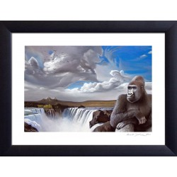 "Tableau ""REGARD SAUVAGE"" (estampe) [tableau gorille, grand singe, jungle, cascade]"