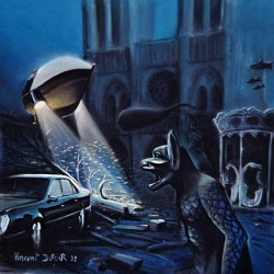 "Tableau original ""PARIS SOUS L'EAU"" (pastel sec) [surréalisme, science fiction]"