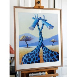 """Picture Blue Giraffe """"The whirlwind of Love"""" - Pastel original dry Vincent Dufour [picture baby room decor Child]"""