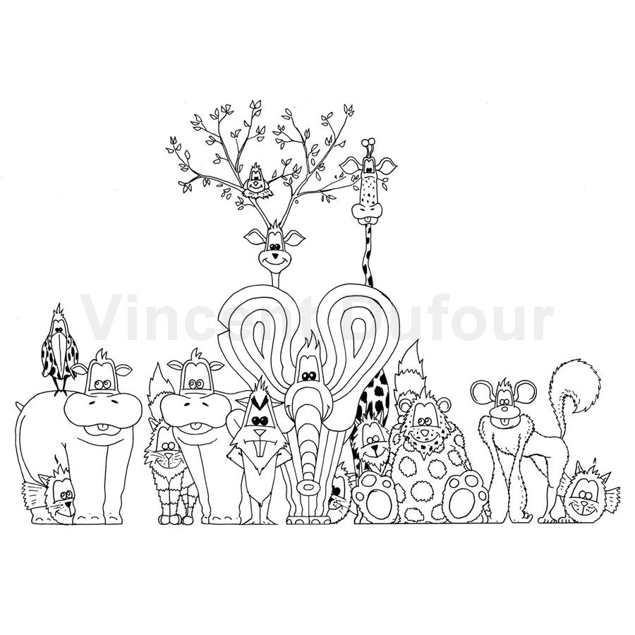Coloriage gratuit animaux la photo de groupe dessin - Coloriages a colorier ...